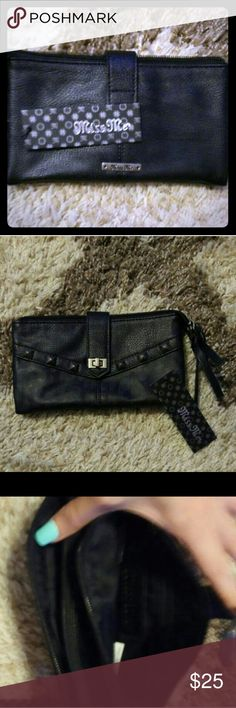 Miss Me wallet Miss Me black wallet new with tag. Has zipper spot full length wallet can fit checks Miss Me Bags Wallets