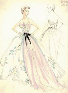 Pierre #Balmain original sketch for a ball dress in printed silk chiffon with train in pink silk charmeuse, tied with a black ribbon