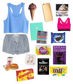 """""""Lazy Day"""" by ponyboysgirlfriend ❤ liked on Polyvore featuring H&M, rag & bone, Goldgenie, NIKE, Paper Mate and Happy Plugs"""