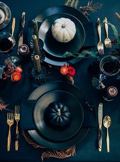 Trick or treat! Add a dash of spooky to a dramatic Halloween inspired table setting.