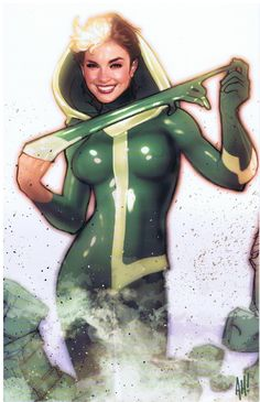 The Unpublished X-Men: Rogue by Adam Hughes Comic Book Artists, Comic Book Characters, Comic Artist, Comic Character, Comic Books Art, Marvel Characters, Adam Hughes, Gambit X Men, Rogue Gambit