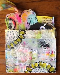 #playingtagartchallenge Day 7, Tag in a Bag.  Made this from a Walgreen's prescription bag that I got yesterday.  Took paint really well.  Oh, Roben-Marie, I so relate to your obsession with bags of all kinds!  Handbags, wallets, totes, weekenders, envelopes, etc., even shopping bags (well probably not garbage bags - I detest the ones with a fake scent!). Thanks for hosting this fun challenge. ❤️  #Regram via @fran.rees