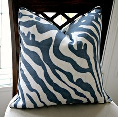 Bluestone Morocco Zebra Linen Pillow Cover. $46.00, via Etsy. A little abstract version of zebra that would pull in a little of the blue gray from your art.