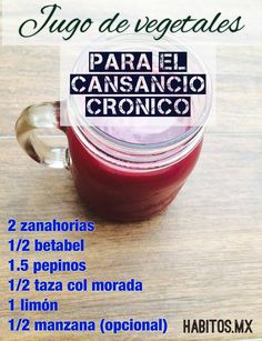Hábitos Health Coaching | JUGO DE VEGETALES PARA EL CANSANCIO CRÓNICO Smoothie Recipes, Juice Recipes, Tea Recipes, Juice Smoothie, Detox Juices, Healthy Juices, Healthy Smoothies, Detox Drinks, Healthy Drinks