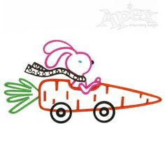 Rabbit Bunny and Carrot Car Embroidery Design. No fill. Great machine sewing pattern for Easter or spring Size: 3.31 x 1.71""