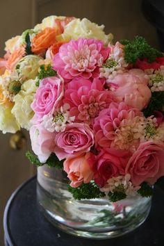 Roses, miniature dahlias and parsley