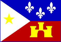 """Acadian Flag: The gold star on a white field represents """"Our Lady of the Assumption"""", Patroness of the Acadians. a portion of the flag pays homage to Spain with a gold tower on a red field representing the Old Arms of Castille, a prosperous European Spanish kingdom. Three silver fleurs de lis on a blue field represent the French origin of the Acadians. The fleurs de lis is a symbol of the kings of France."""