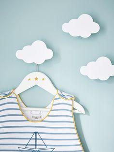 PACK OF 3 WOODEN CHILDREN'S HANGERS BLUE+GREY+PINK+WHITE