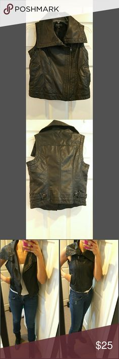 Vegan leather vest Excellent condition. Size small. 100% PU. No rips, stains, or peeling. Great for fall. CoffeeShop Jackets & Coats Vests