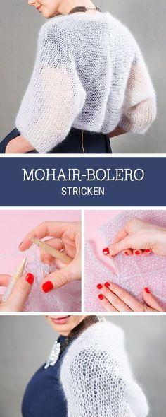 DIY-Anleitung: Kuscheligen Bolero aus Mohair stricken, Mode stricken / #knittingpattern for a soft mohair bolero via DaWanda.com