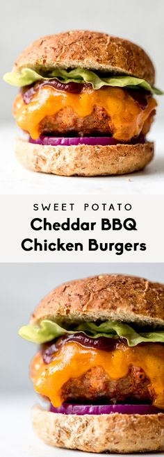 Start grilling these Sweet Potato Cheddar BBQ Chicken Burgers ASAP! The flavor i… Start grilling these Sweet Potato Cheddar BBQ Chicken Burgers ASAP! The flavor is unreal in these HEALTHY chicken burgers! Grilled Chicken Burgers, Ground Chicken Burgers, Turkey Burgers, Grilled Meat, Raw Sweet Potato, Sweet Potato Burgers, Healthy Coleslaw, Healthy Pasta Salad, Bbq Chicken