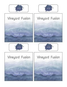 Create custom wine bottle labels with this free printable template. Design features a gray-blue watercolor background reminiscent of mountains in the distance. Includes bottle neck label for additional branding. Customize with the name of your winery/vineyard, wine type, bottle size, year etc.