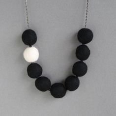 Black Felted Necklace  Monochrome Felt by annakingjewellery
