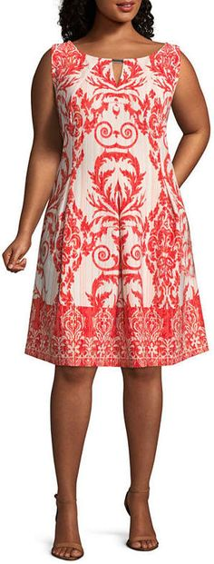 Danny & Nicole Sleeveless Scroll Fit & Flare Dress - Plus  like the shape of this but with v-neck