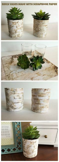 DIY Birch Vases Made with Scrapbook Paper