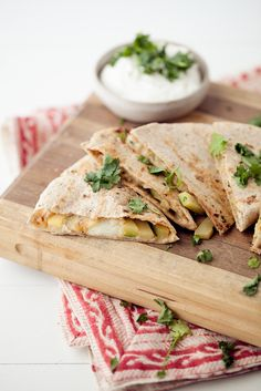 Grilled zucchini and cheese quesadilla