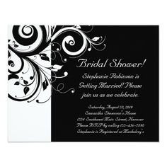 Black, White, Reverse Swirl Bridal Shower/ General 4.25x5.5 Paper Invitation Card