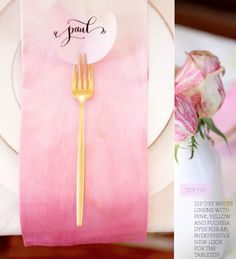 Another thing I can do for he wedding: dip dye linen napkins. Pink Ombre Napkins DIY