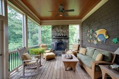 An outdoors design collection of 15 Classic Traditional Porch Designs For Ideas And Inspiration showing the timeless beauty of the classic porch. Veranda Design, Patio Design, House Design, Screened Porch Designs, Screened In Porch, Front Porch, Porch Ceiling, Outdoor Ceiling Fans, Ceiling Trim