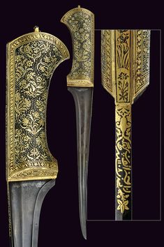 Indian pesh-kabz, slightly curved T back damascus steel blade, the first part of the back with inscriptions in gold, iron grip completely decorated with gold two-color floral motifs on a dark background, 19th century,  length 36 cm.