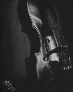 8x10 Original Black and White Charcoal Drawing of a Violin