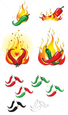Buy Hot and Spicy Chilli Peppers by toranoko on GraphicRiver. Red and green chilli peppers in various forms, including black silhouette, outline and coloured versions with and wit. Green Chilli Sauce, Tree Tattoo Designs, Tattoo Ideas, Grunge Art, Spicy Chili, Tattoo Outline, Black Silhouette, Free Graphics, Mexican Art