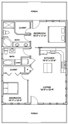 2 Bedroom House Plans, Cabin House Plans, Cabin Floor Plans, 2 Bedroom Apartment Floor Plan, Tiny House 2 Bedroom, 2 Bedroom House Design, 30x40 House Plans, Bedroom Bed, Bed Design