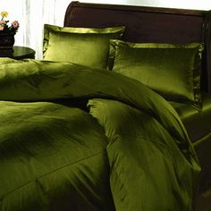 You pick the color, we do the rest! Bedroom Bed Design, Gold Bedroom, King Bedroom, Bedroom Green, Bedroom Decor, Bedroom Ideas, Cheap Bedding Sets, Bedding Sets Online, Olive Green Bedrooms
