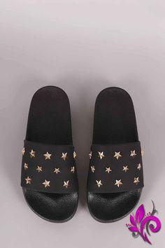 f7b20f419ad Qupid Nubuck Stars Accent Open Toe Slide Sandal Open Toe Shoes
