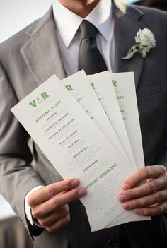 Simple wedding programs, no need for a book!
