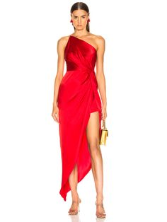 Michelle Mason for FWRD Twist Knot Gown in Red   FWRD Elegant Party Dresses, Red Wedding Dresses, Party Dresses For Women, Club Dresses, Satin Dresses, Sexy Dresses, Dress Outfits, Fashion Dresses, Chiffon Dresses