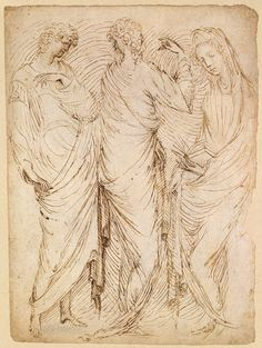 Three Standing Figures (recto); Seated Woman and a Male Hermit in Half-Length (verso), ca. 1430–38 Stefano da Verona (Stefano di Giovanni) (Italian, 1374/75–ca. 1438) Pen and brown ink, brush with touches of brown wash, over traces of charcoal or black chalk 11 13/16 x 8 13/16 in. (30 x 22.4 cm) Harris Brisbane Dick Fund, 1996 (1996.364a,b)