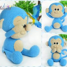 Cute Blue Monkey Amigurumi Monkey Toy This is an Amigurumi Monkey Crochet Pattern, not a finished toy.
