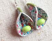 Boucles d'oreilles clochettes en liberty estival
