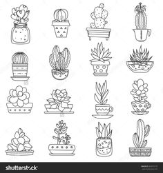 stock-vector-cactus-line-black-white-icons-set-with-different-types-of-succulents-flat-isolated-vector-363975170.jpg (1500×1600)