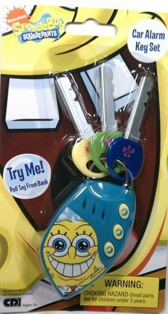 """SpongeBob Car Alarm Key Set by Creative Designs International, Ltd.. $8.39. Approx 5.5"""" (14 cm) inches in length. Realistic Car Sound Effects. Recommended for Ages 3 & up. Spongebob keys make mulitple sounds for hours of fun for your little driver. Comes with Key Pad & 3 Plastic Keys. A car alarm key set like the one Spongebob would have himself."""