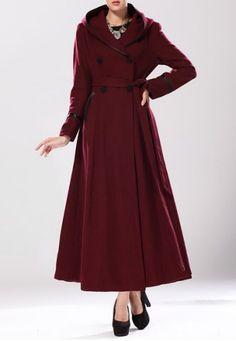 Elegant Hooded Long Sleeve Double-Breasted Coat For Women