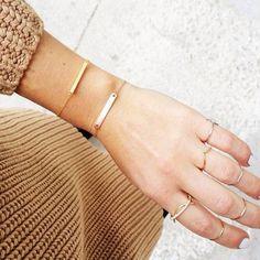 bar bracelets. rings.