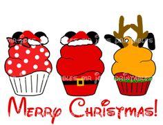 Disney Mickey Santa Pluto Reindeer Cupcake by mrjoesprintables Disney Merry Christmas, Disneyland Christmas, Disney Christmas Shirts, Christmas Fun, Disney Holidays, Disney Ears, Disney Fun, Disney Mickey, Disney Stuff