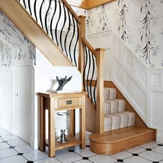 This decorative steel and timber staircase features Barcelona steel spindles as well as our Avon newel posts to give a contemporary look. Loft Staircase, Stair Banister, Staircase Handrail, Iron Staircase, Metal Stairs, Modern Stairs, Banisters, Staircase Ideas, Black Staircase