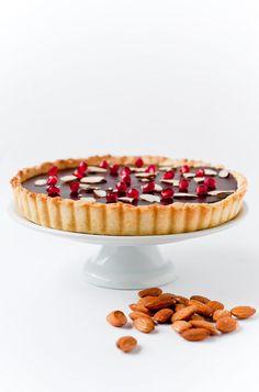 Orange pomegranate almond chocolate tart by Desserts for Breakfast: February 2010