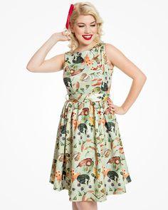 Lindy Bop 'Audrey' Woodland Fairy Print Swing Dress - Halloween