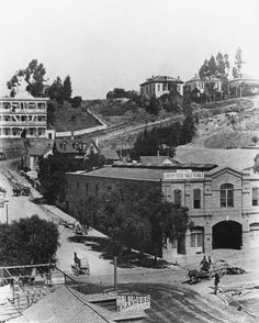 When Los Angeles was a horse town—stables and a saddlery shop at the corner of First and Broadway circa 1890. (Part of the California Historical Society Collection in the USC Digital Library.)