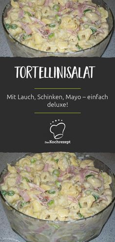 Tortellinisalat ist besser als normaler Nudelsalat! Besonders diese köstliche V… Tortellini salad is better than normal pasta salad! Especially this delicious variation, because with leek, ham and mayo, pasta just tastes deluxe! Pasta Recipes, Snack Recipes, Cooking Recipes, Healthy Recipes, Chicken Recipes, Salade Healthy, Salade Caprese, Best Pancake Recipe, Spareribs