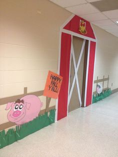 Just have to add pumpkins made by the kids. Farm Bulletin Board, Farm Unit, Bible School Crafts, Farm Crafts, Classroom Themes, Classroom Door, Farm Party, Barnyard Party, School Decorations