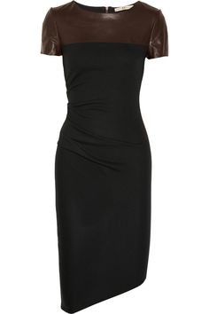 Halston Heritage | Leather-detailed wool-jersey dress