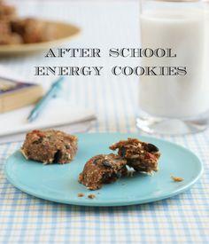 Gluten-Free, Sugar-Free, Allergy-Friendly Healthy Snack After School Energy Cookies Recipe Dairy Free Snacks, Dairy Free Recipes, Vegan Gluten Free, Vegan Recipes, Snack Recipes, Cookie Recipes, Dessert Recipes, Vegan Sweets, Vegan Snacks