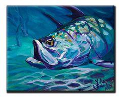 """Tarpon Fish Fly Fishing Tile Art - """"Tarpon Study"""" - Savlen Studios"""