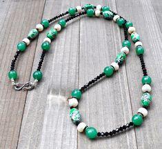 Long Beaded Necklace Mosaic Jade With by Rayvenwoodmanor on Etsy