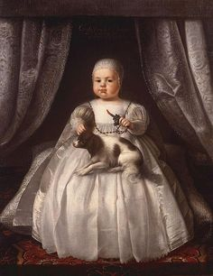 "Charles II of England, before he was ""shortcoated"", holding a teething coral, 1630."